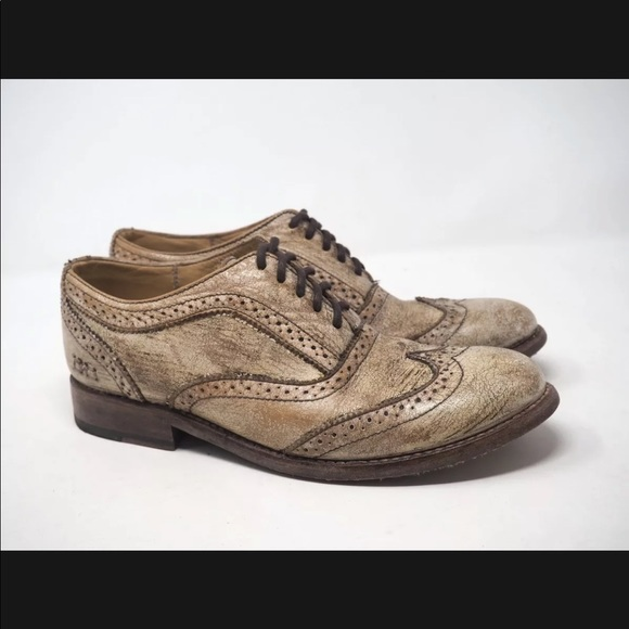 Bed Stu Shoes Almond Toe Wingtip Oxfords Leather